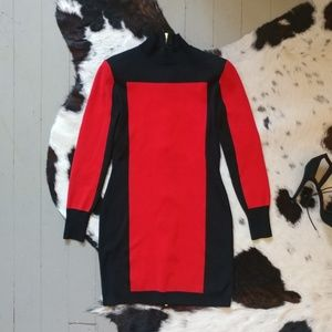 Balmain X H&M Red and Black Turtleneck Dress